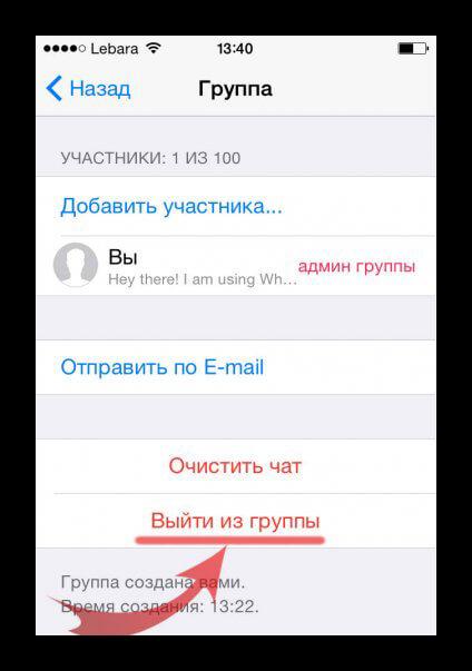 Выход из группы WhatsApp iPhone