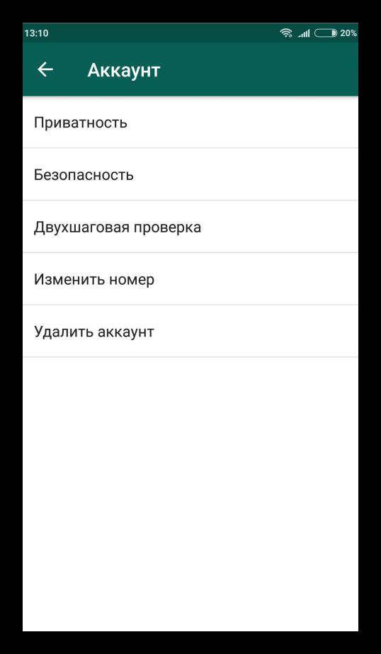 Раздел Приватность для WhatsApp