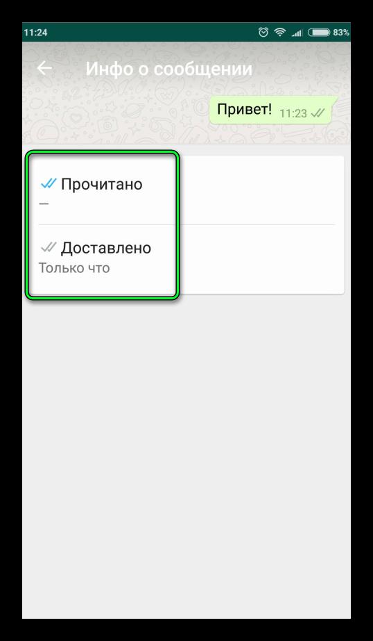 Статус сообщений WhatsApp