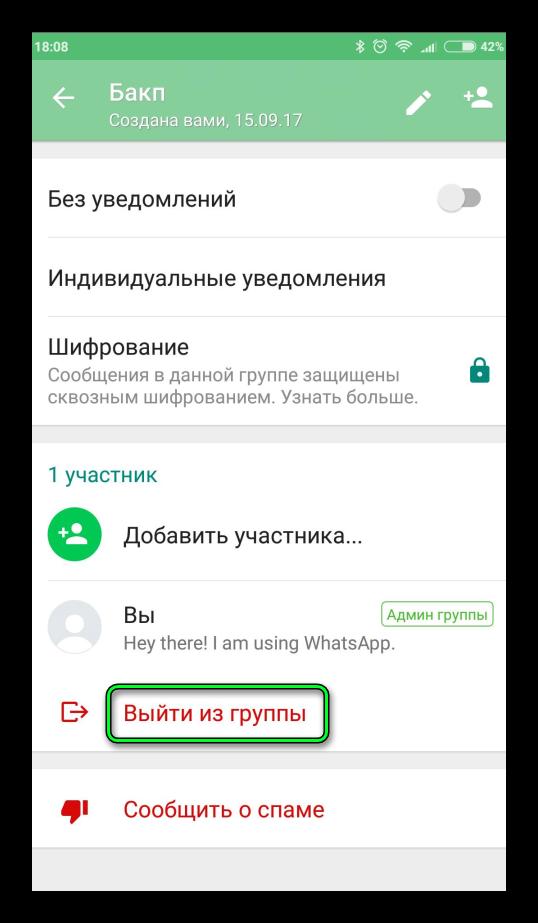 Кнопка Выйти из группы в чате WhatsApp