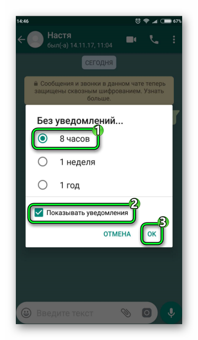 Настройка режима Не беспокоить WhatsApp
