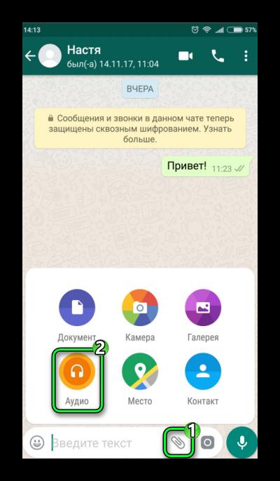Пересылка аудио WhatsApp