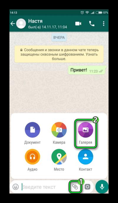 Пересылка фото или видео WhatsApp