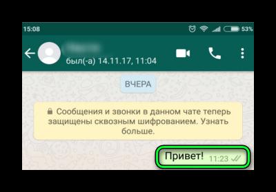 Статус отправки сообщения WhatsApp
