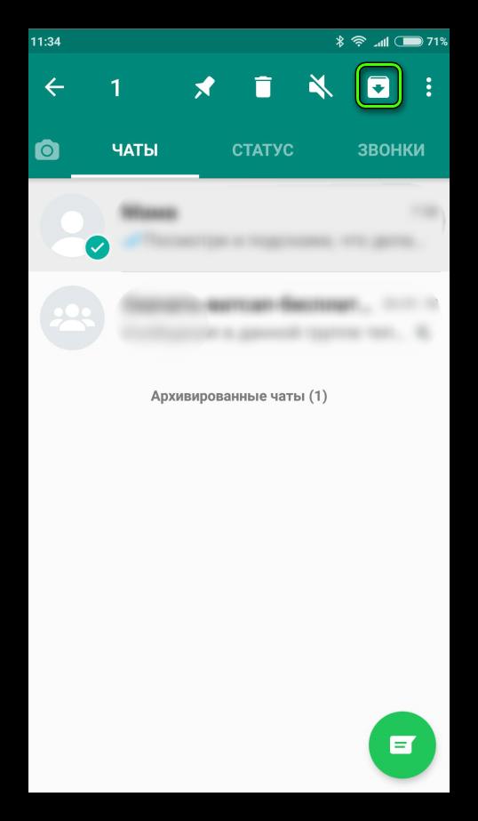 Кнопка архивации чата WhatsApp