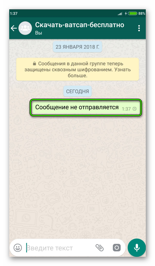 Сообщение не отправляется WhatsApp